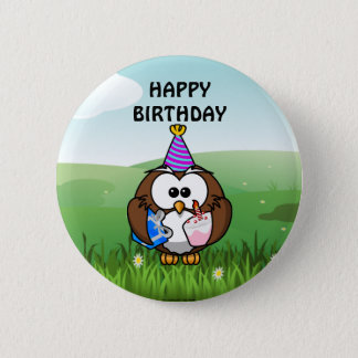 Birthday Owl 6 Cm Round Badge
