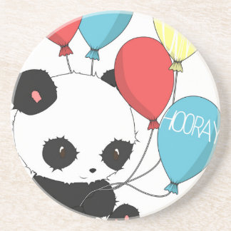 Birthday Panda with balloons Drink Coasters