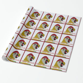 Birthday Parrot Head Collage Red Wrap Paper