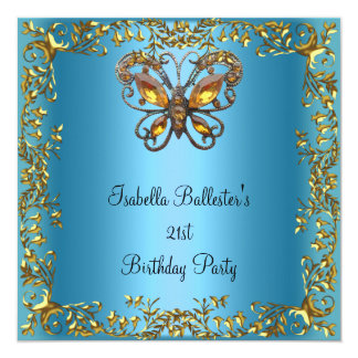 Birthday Party 21st Butterfly Teal Blue Gold Card