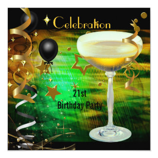 Birthday Party 21st Celebration Champagne Green 13 Cm X 13 Cm Square Invitation Card