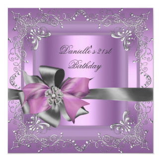 Birthday Party 21st Lilac Pink Silver Grey 13 Cm X 13 Cm Square Invitation Card