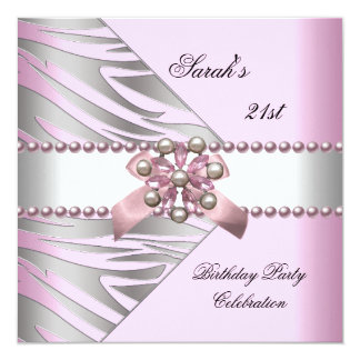 Birthday Party 21st Pink Zebra White Pink Pearl Card
