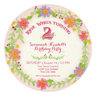 Birthday Party 2 Years Old Girl Watercolor Floral Custom Announcement