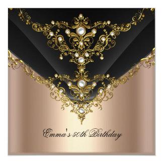Birthday Party 30th Gold Coffee Cream Pearl Black 13 Cm X 13 Cm Square Invitation Card