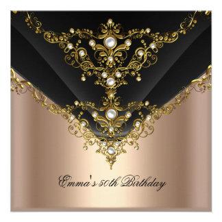 Birthday Party 30th Gold Coffee Cream Pearl Black Personalized Invite