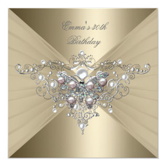 Birthday Party 30th Gold Coffee Pink Pearl 5.25x5.25 Square Paper Invitation Card