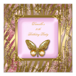Birthday Party 30th Pink Gold Zebra Butterfly Card