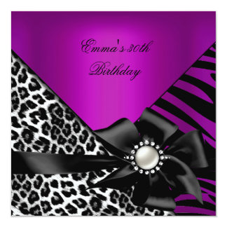 Birthday Party 30th Zebra Leopard Purple Pink Plum Card