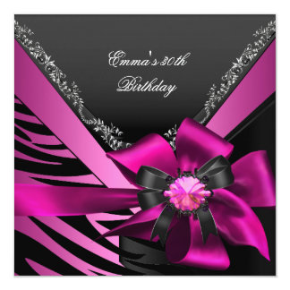 Birthday Party 30th Zebra Pink Black Silver Card