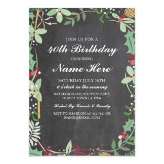 Birthday Party 40th 50th Rustic ChalK Berry Invite