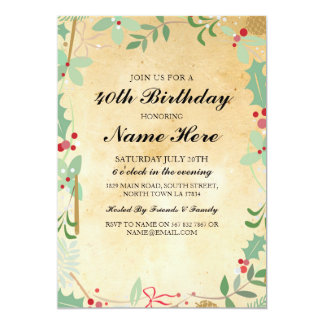 Birthday Party 40th 50th Rustic Xmas Berry Invite