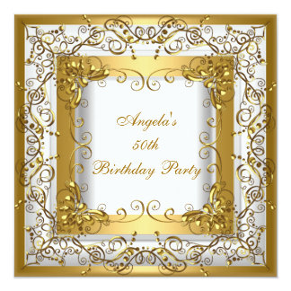Birthday Party 50th White Gold Floral Card