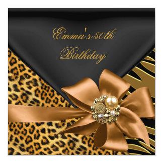 Birthday Party 50th Zebra Leopard Gold Black 13 Cm X 13 Cm Square Invitation Card