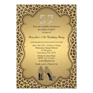 Birthday Party 57th,Cheetah High Heels Shoes 13 Cm X 18 Cm Invitation Card