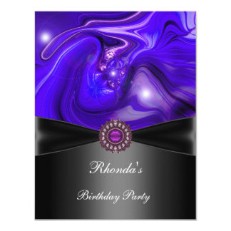 Birthday Party Abstract Purple blue Black Jewel 11 Cm X 14 Cm Invitation Card