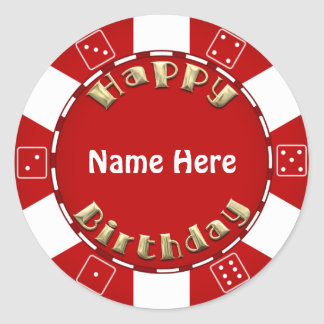Birthday party add age poker chip sticker