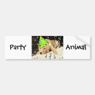 Birthday Party Animal Golden Retriever Bumper Sticker