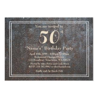 Birthday Party Any year, rusted metal style,fun Card