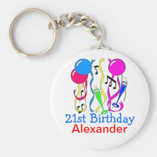Birthday Party-Balloons 21st Personalize It! Key Ring