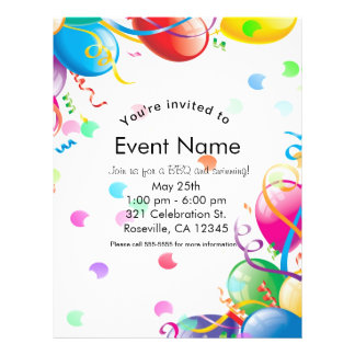 Birthday Party Balloons Confetti Event Flyer