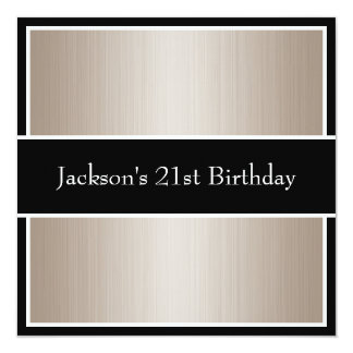 Birthday Party Beige Fine Stripes Black & White 13 Cm X 13 Cm Square Invitation Card