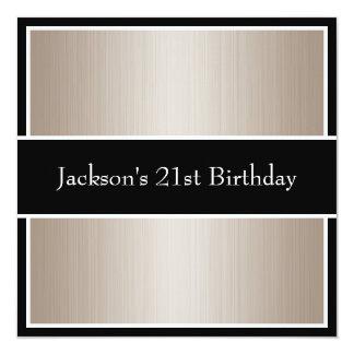 Birthday Party Beige Fine Stripes Black & White 13 Cm X 13 Cm Square Invitation Card