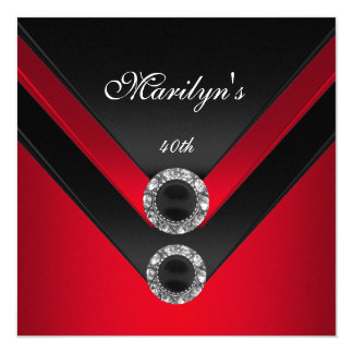 Birthday Party Black Red Diamond Jewel Card