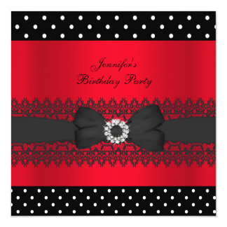 Birthday Party Black Red Polka Dots Bow 13 Cm X 13 Cm Square Invitation Card