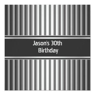 Birthday Party Black Silver Mens 30th 13 Cm X 13 Cm Square Invitation Card