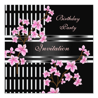 Birthday Party Black White Asian Pink Blossom Card