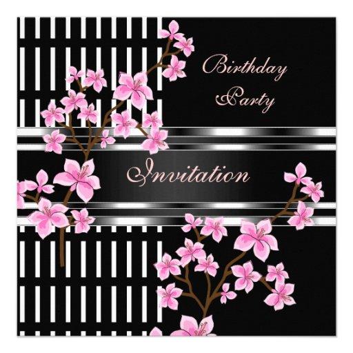 Birthday Party Black White Asian Pink Blossom Custom Invites