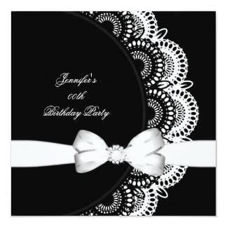 Birthday Party Black White Diamond Image 13 Cm X 13 Cm Square Invitation Card