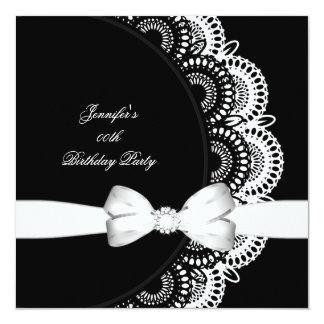 Birthday Party Black White Diamond Image Card