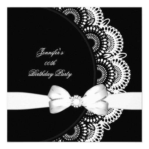 Birthday Party Black White Diamond Image Custom Announcement
