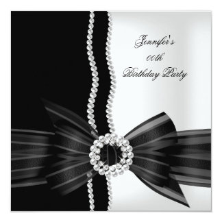 Birthday Party Black White Pearl Diamond Image 13 Cm X 13 Cm Square Invitation Card