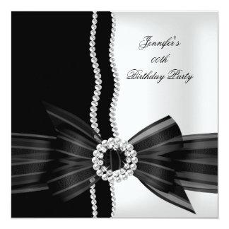 Birthday Party Black White Pearl Diamond Image Card