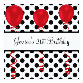 Birthday Party Black & White Spots Red Balloons 13 Cm X 13 Cm Square Invitation Card
