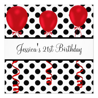 Birthday Party Black White Spots Red Balloons Personalized Invite
