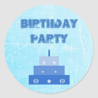 Birthday Party Blue Cake Stickers