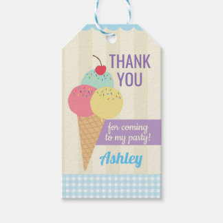 Birthday Party Blue Thank You Tags Ice-Cream