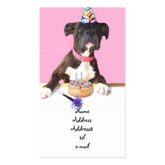 Birthday party Boxer dog business card