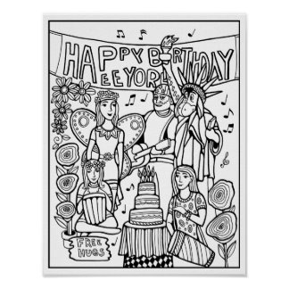 Birthday Party Cardstock Adult Coloring Page Poster