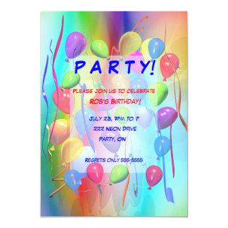 Birthday Party Celebration Balloons 13 Cm X 18 Cm Invitation Card