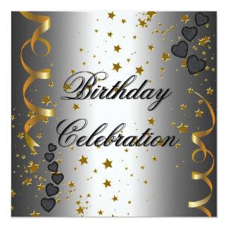 "Birthday Party Celebration Silver Black Gold Stars 5.25"" Square Invitation Card"