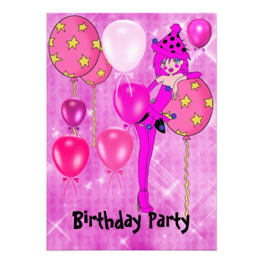 Birthday Party Cheeky Girl Pink Balloons Personalized Announcements