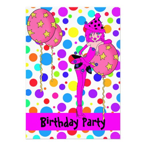 Birthday Party Cheeky Girl Spots Balloons Custom Announcements