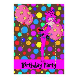 Birthday Party Cheeky Girl Spots Balloons Invitation