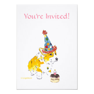 Birthday Party Corgi Invitation