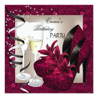 "Birthday Party Damask Pink Red Shoes Cream 2 5.25"" Square Invitation Card"